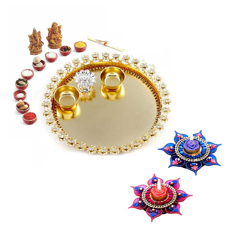 Gift Beautiful AD Studded Golden Diwali Pooja Thali+Amazing Pink & Blue Floral Floating Candles- Set of 2 on Diwali