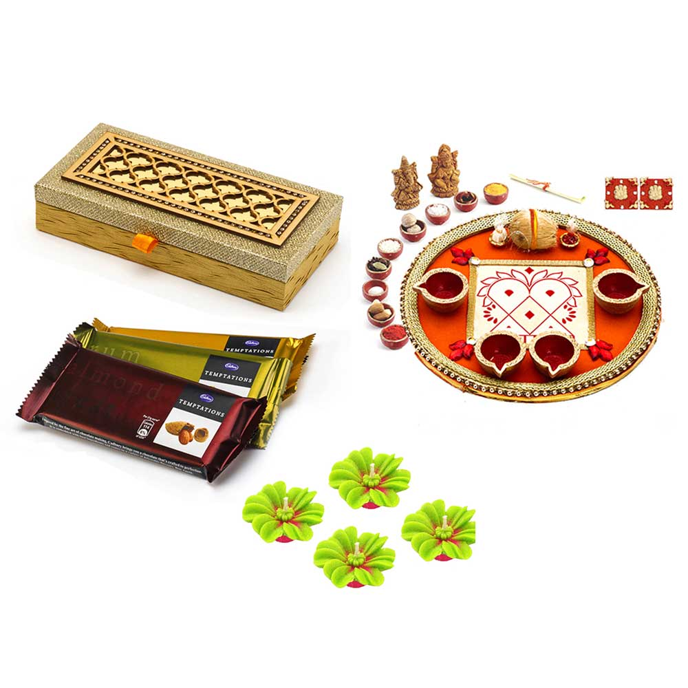 Dairy Milk Temptation Pack with Box+Colorful Crystal Stone Studded Round Diwali Pooja Thali