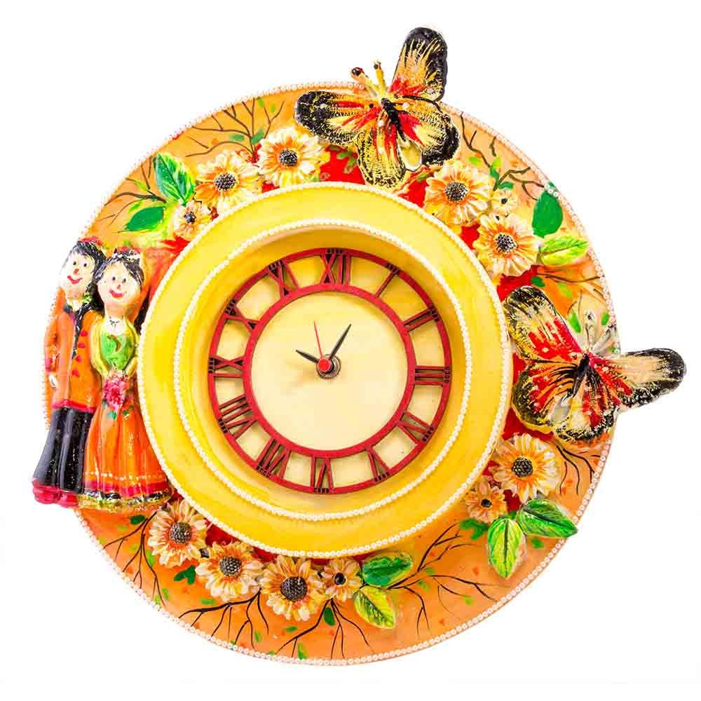 ad 39 s handcrafted wall clock with couple in yellow india