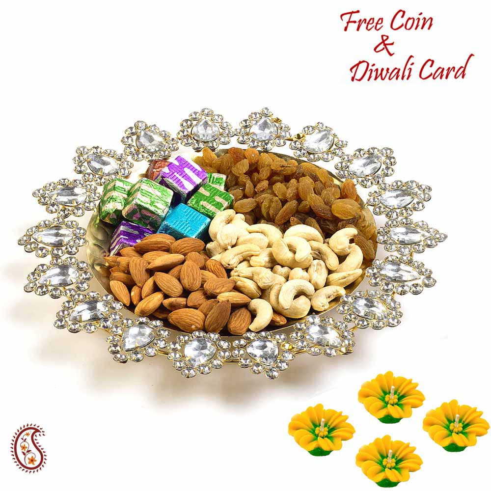 Crystal Stone Studded Fancy Dry fruits Bowl and Diwali Hamper