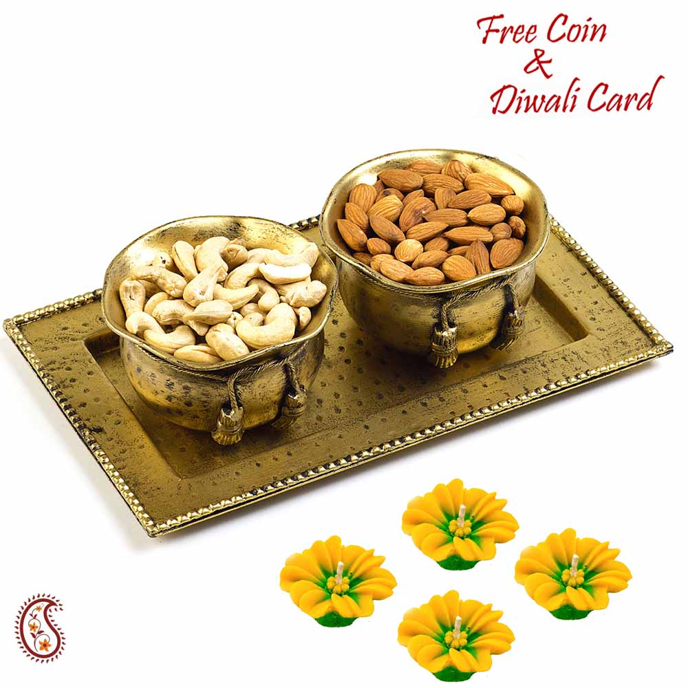 Brass Finish Dry fruit Bowl Set Hamper