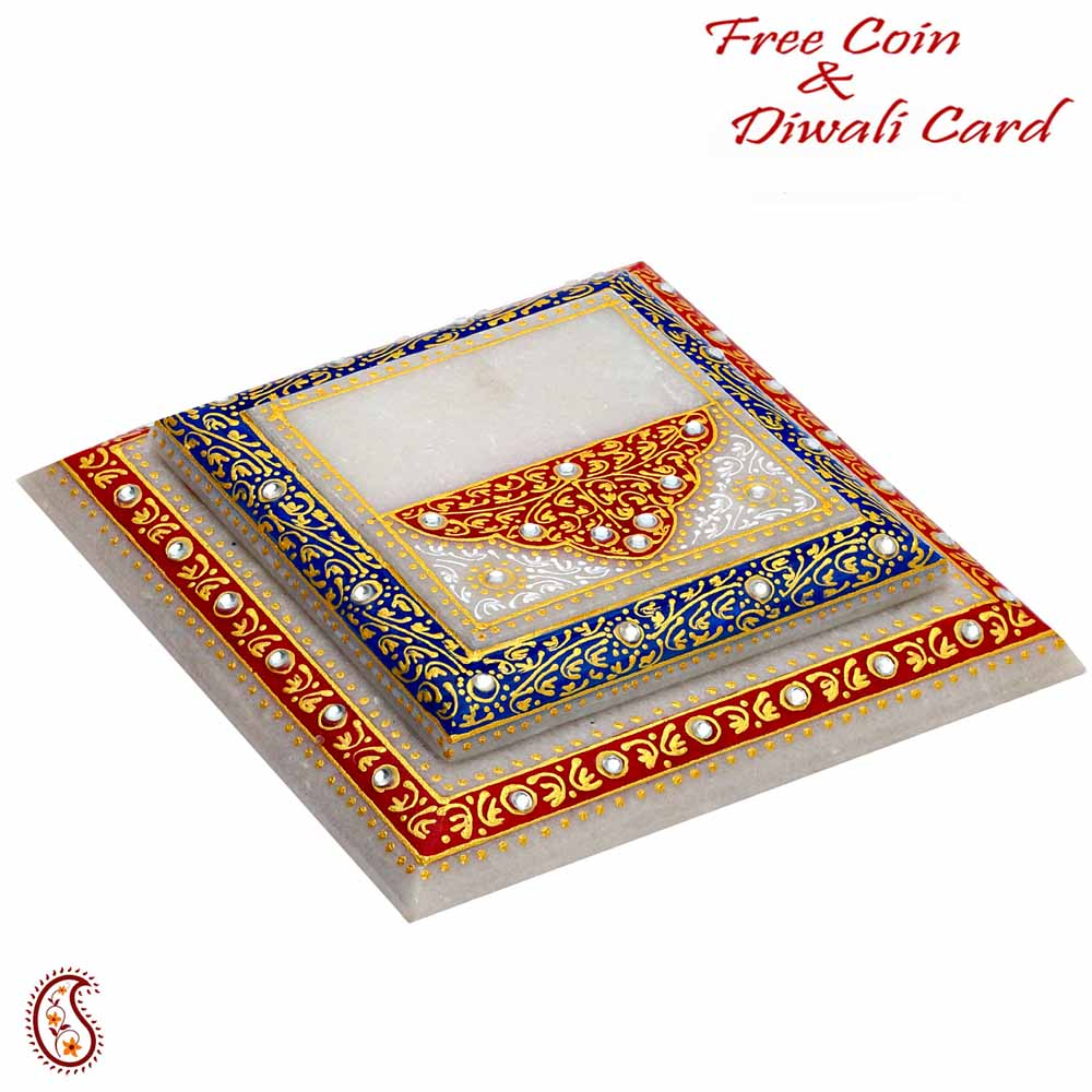Marble Chowki with Contemporary Print in Red & Blue
