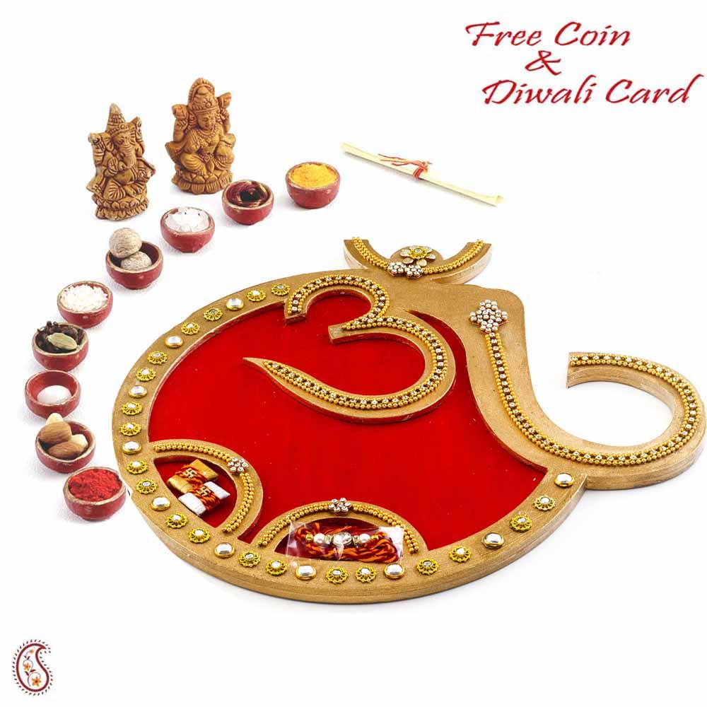 OM Designed Red & Golden Diwali Pooja Thali