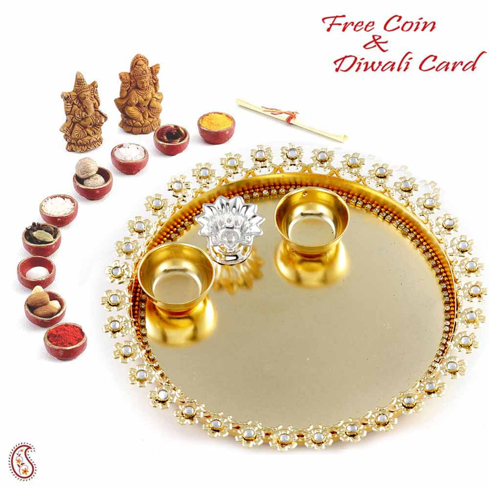 Beautiful AD Studded Golden Diwali Pooja Thali