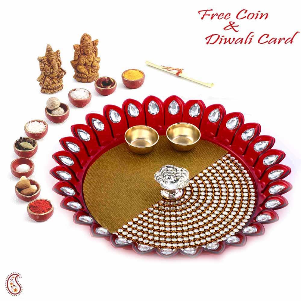 Lovely Kundan Studded Maroon Shade Diwali Pooja Thali