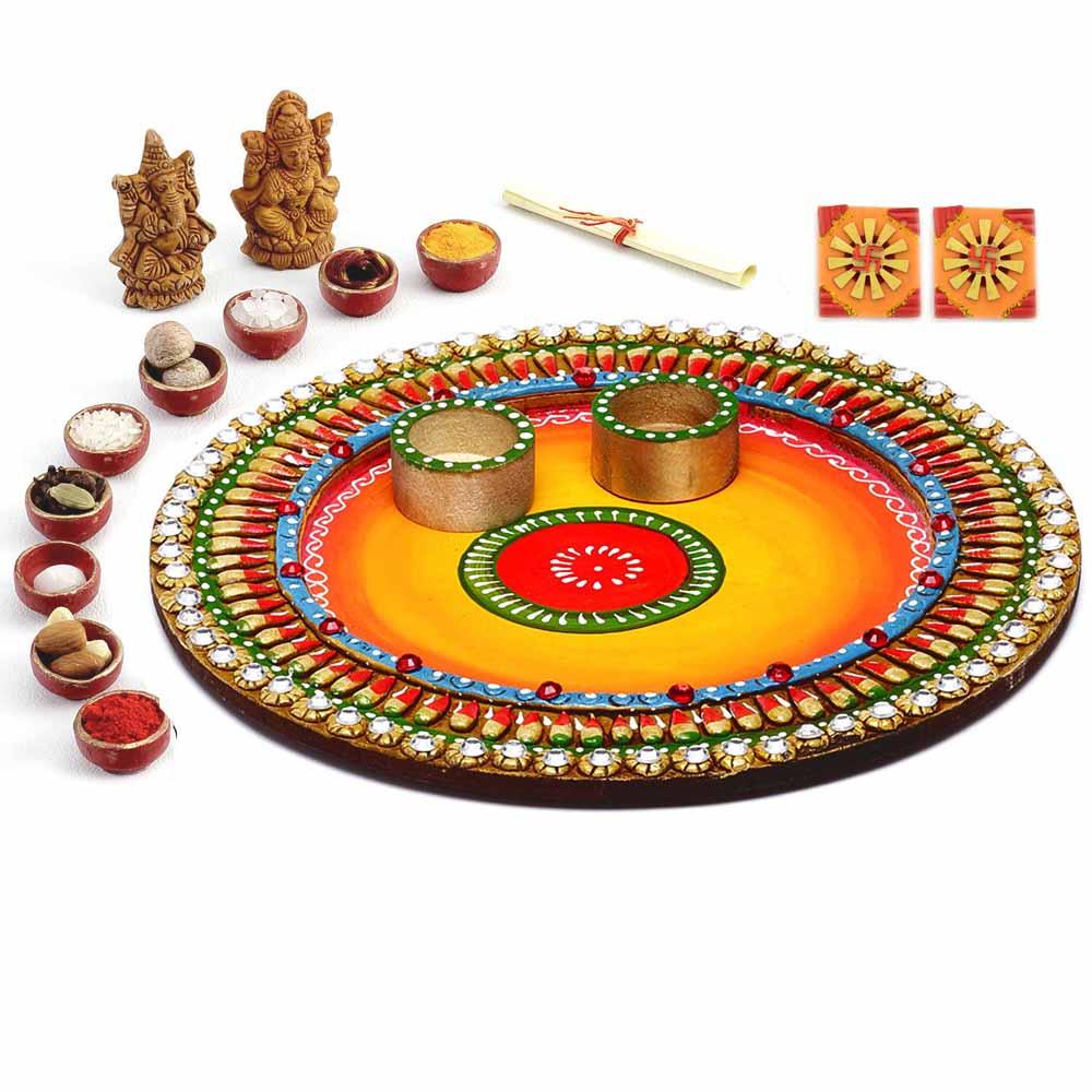 Lovely Shades Round Diwali Pooja Thali