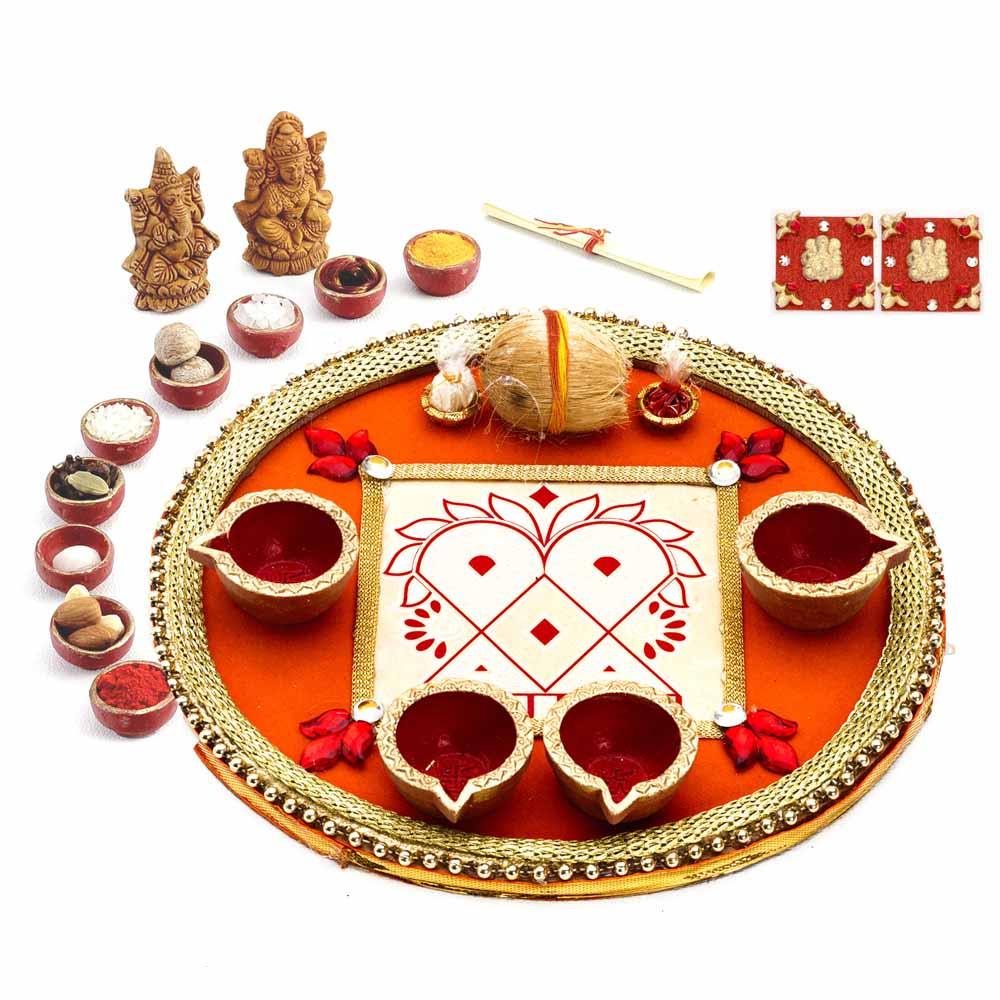 Colorful Crystal Stone Studded Round Diwali Pooja Thali
