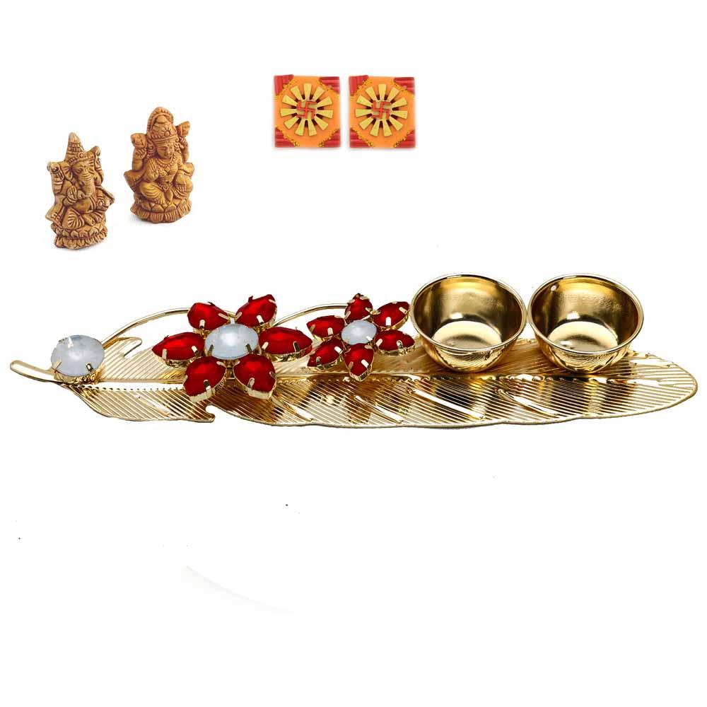 Orange Base & Red Diya Diwali Pooja Thali