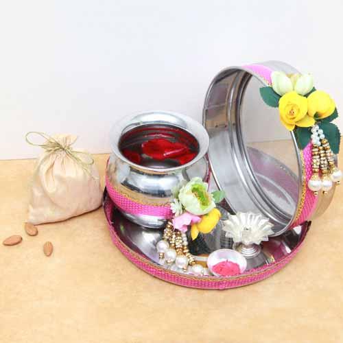 Steel Karva Pooja Thali Set with Badam Pack
