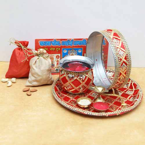 Karva Chauth Pooja Thali set with Kaju and Badam Pouches