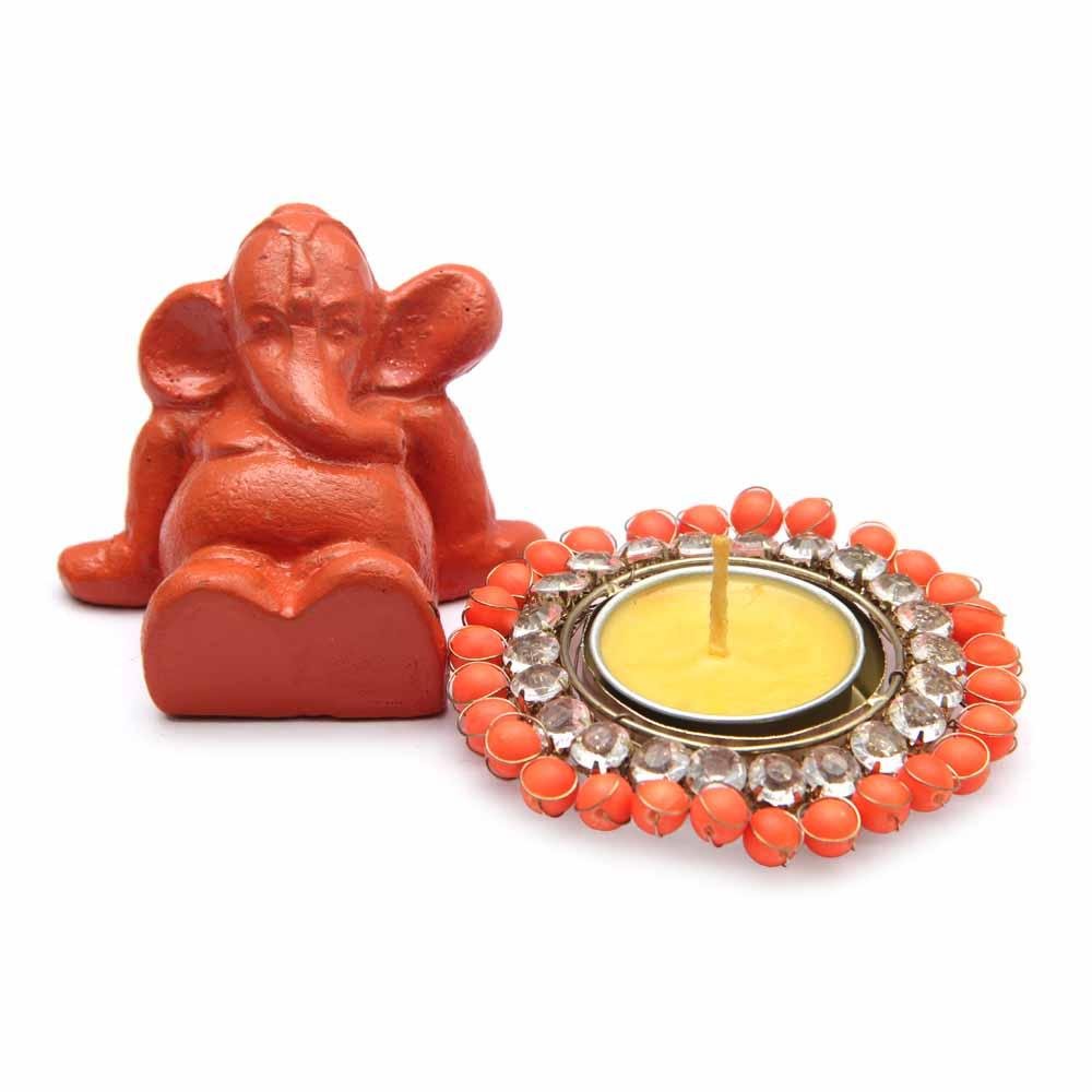 Red Ganesha Figurine with Designer T-lights