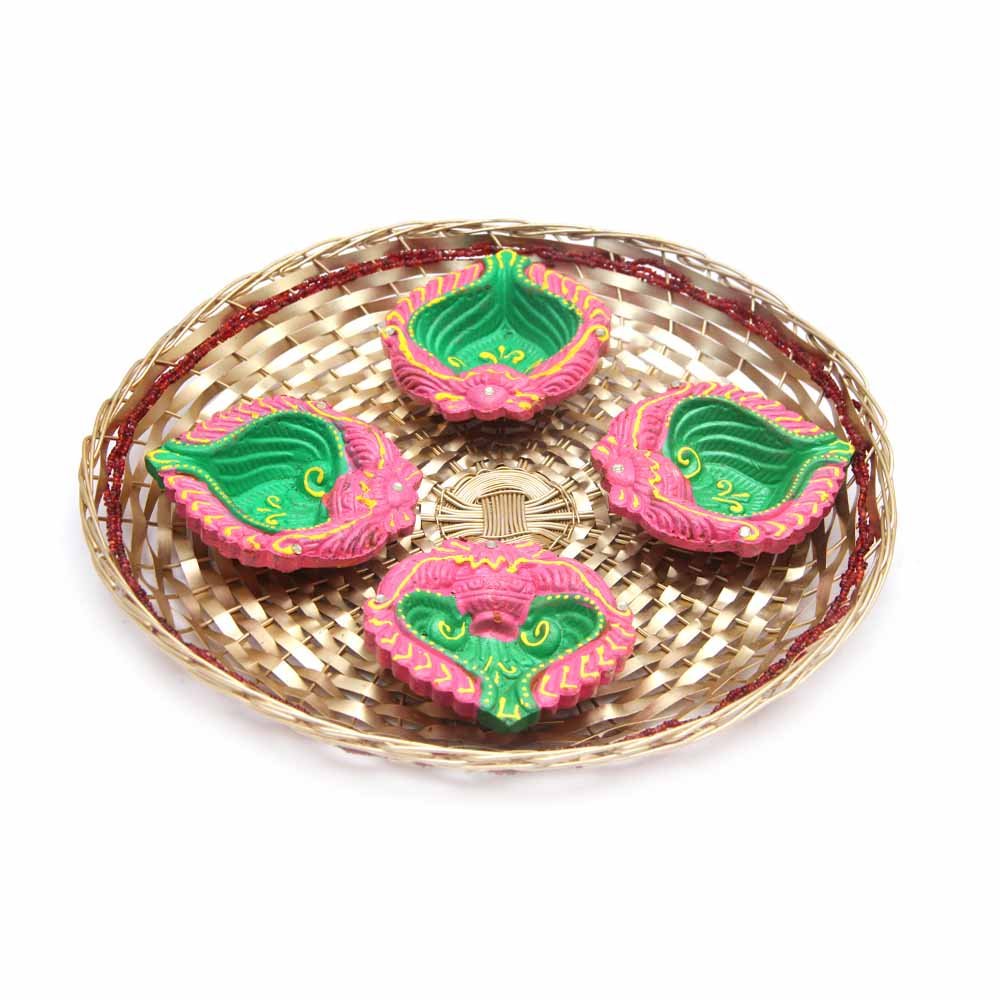 Decorative Wooden Basket with Four Designer Diyas