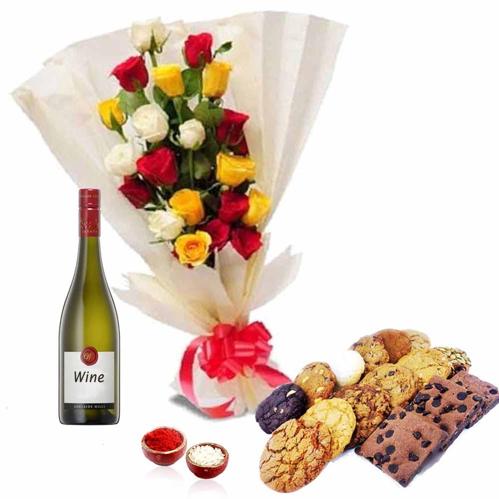 Bhai Dooj Mix Roses with Cookies and Wine