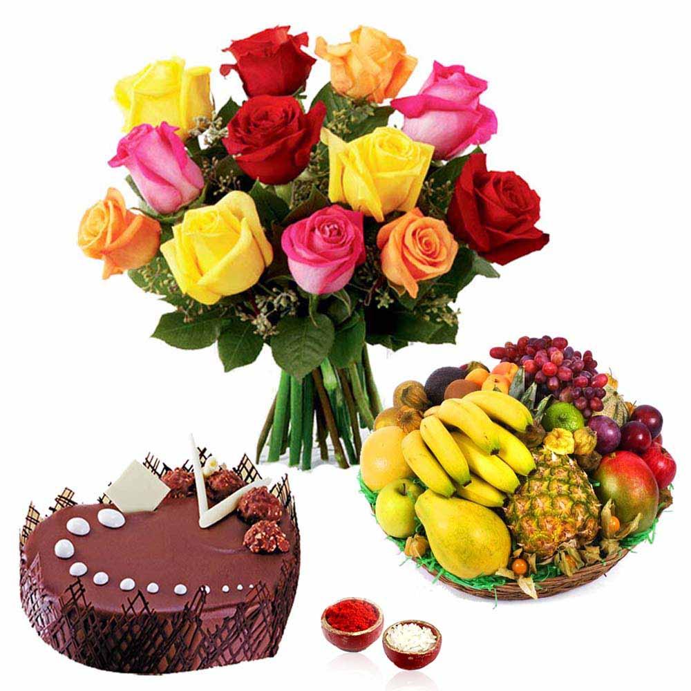 Mix Roses with Chocolate Cake and Fruits Bhai Dooj Combo