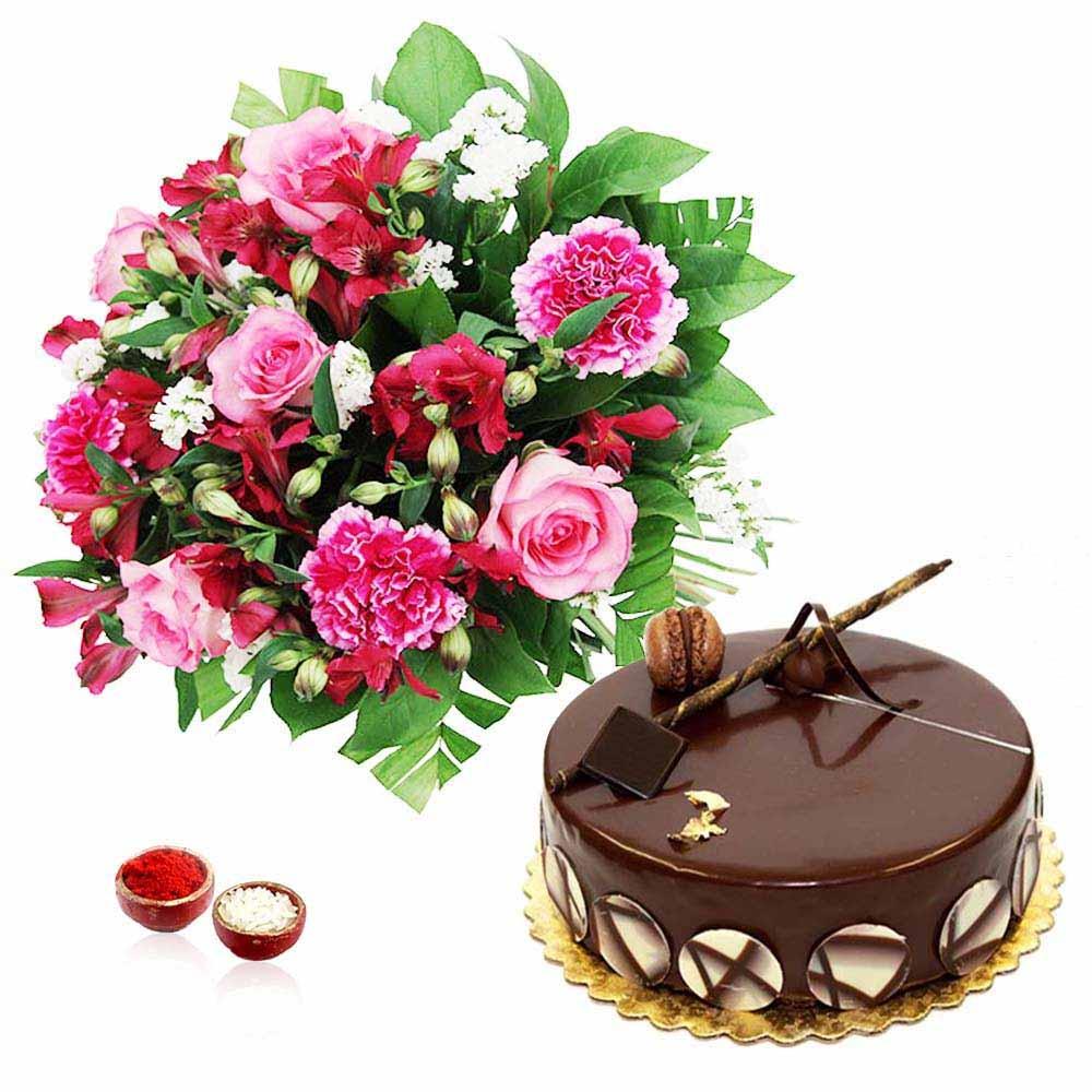 Bhai Dooj Special Chocolate Cake with Pink Flower Bouquet