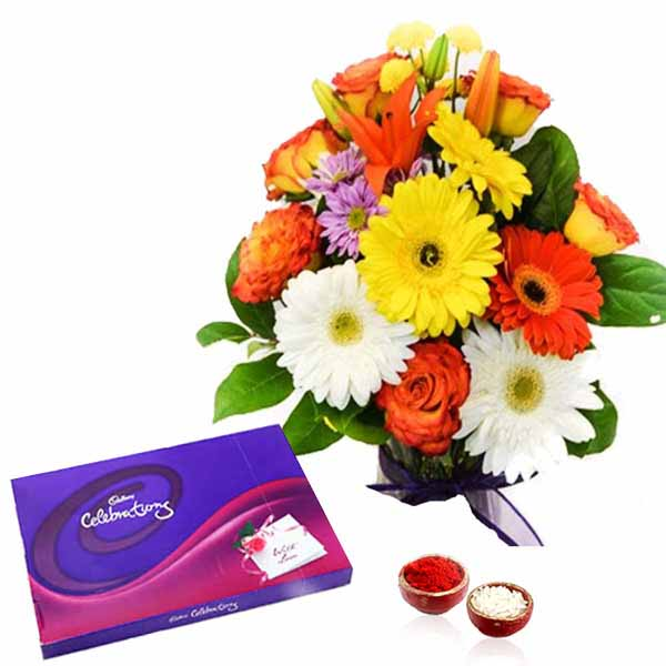 Mix Flowers Bouquet with Celebration Chocolate Pack for Bhai Dooj