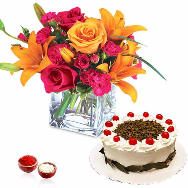 Bhai Dooj Brightfull Flower Vase with Black Forest Cake