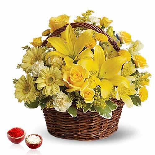 Yellow Sensation Flower Basket Arrangement for Bhai Dooj