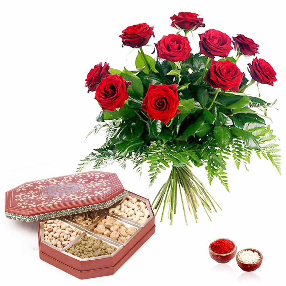 10 Red Roses Bouquet with Manifold Dry Fruits Box Bhai Dooj Hamper