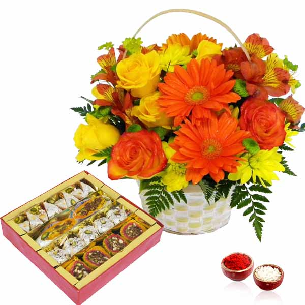Bhai Dooj Basket Arrangement of Mix Flowers and Assorted Sweets