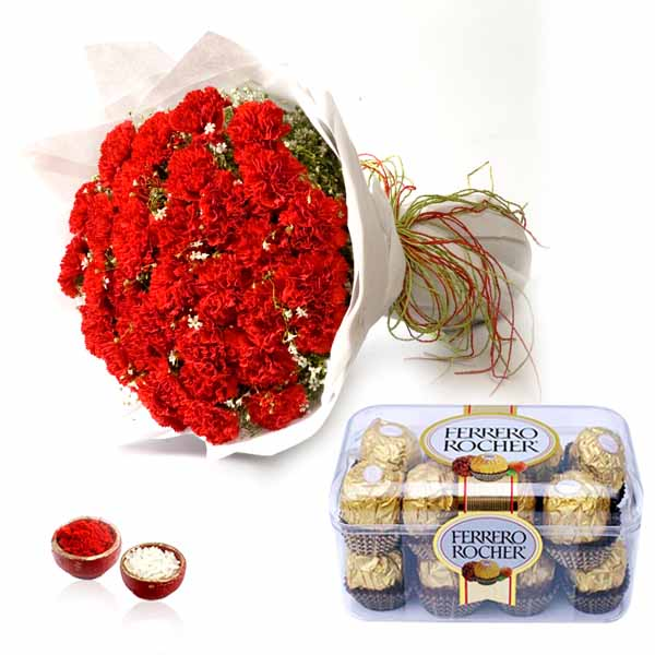 Red Carnation Bouquet and Ferrero Rocher Chocolate for Bhai Dooj