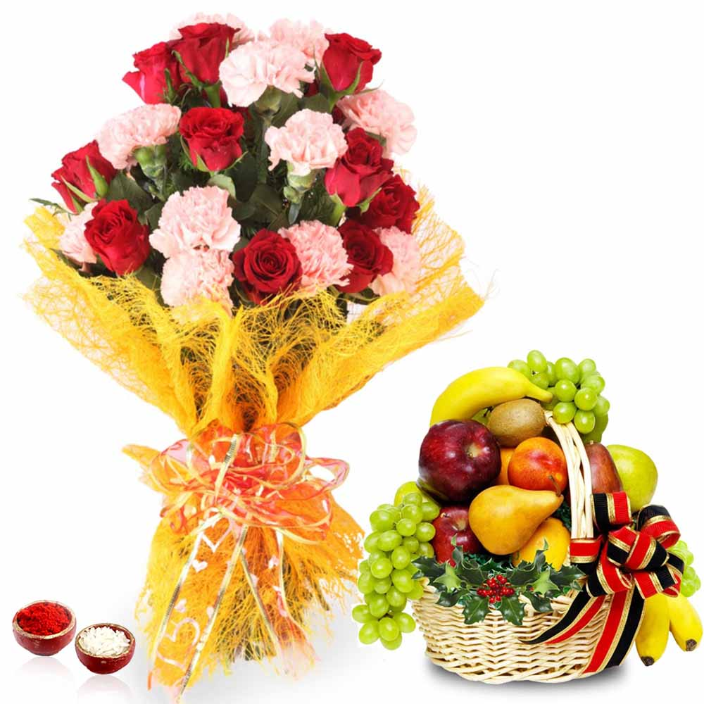 Bhai Dooj Hamper Roses and Carnation Bouquet with Fruits Basket