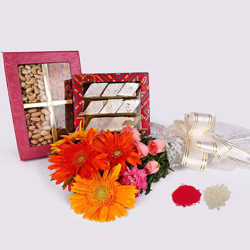 Mix Flowers Bouquet with Kaju Katli and Dry Fruits in a Box Bhaidooj Combo