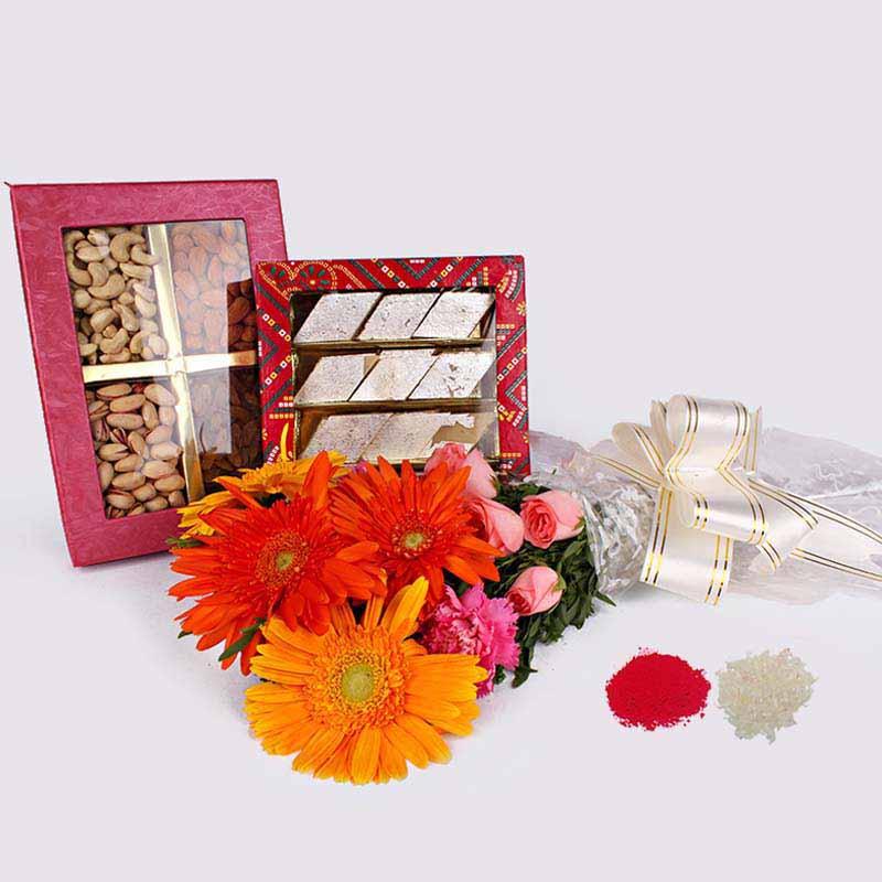 Mix Flowers Bouquet with Kaju Katli and Dry Fruits in a Box Bhaidooj Combo