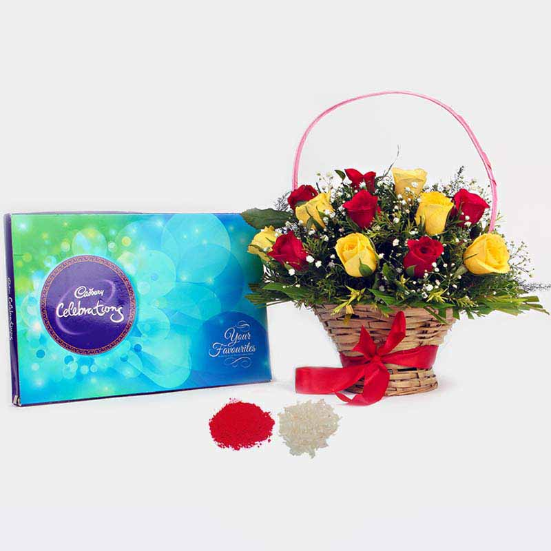 Red and Yellow Roses arrangement with Cadbury Celebration Chocolate Pack for Bhai