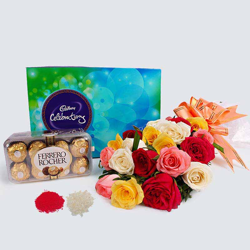 Mix Roses Bouquet with Chocolate Combo for Bhaidooj