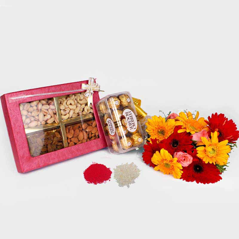 Gerberas Bouquet with Ferrero Rocher Chocolate and Dry Fruits for Bhaidooj