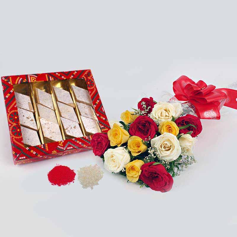 Bhaidooj Gift of Trio Color Roses Bouquet with Kaju Katli Sweets