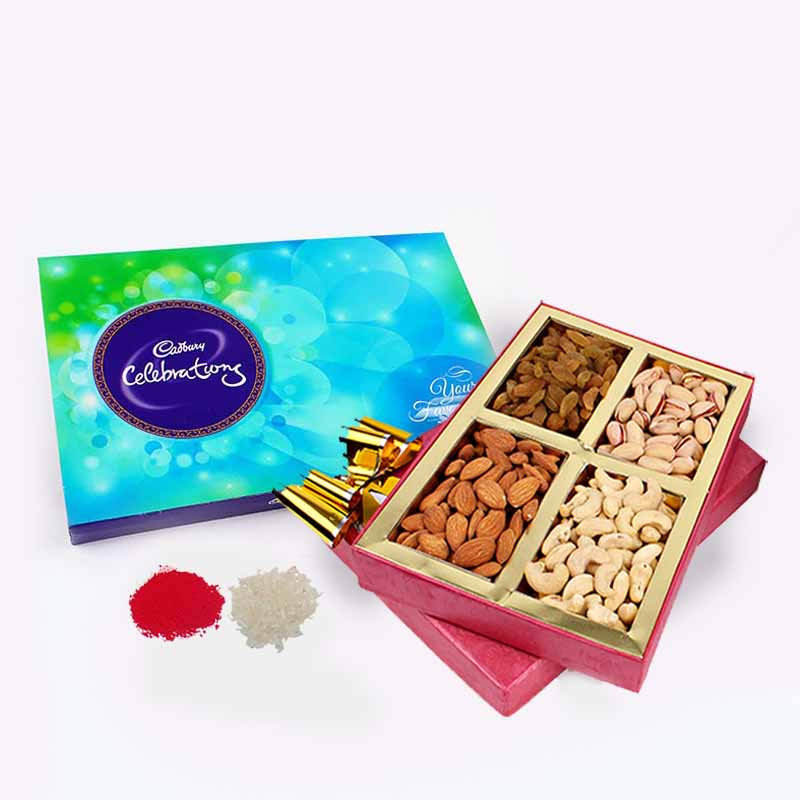 Dry Fruits with Cadbury Celebration Chocolate Pack For Bhai Dooj