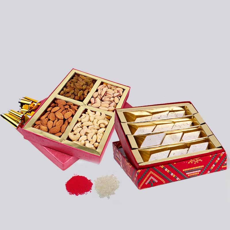 Bhai Dooj Combo of Kaju Katli Sweets and Assorted Dry Fruits in a Box