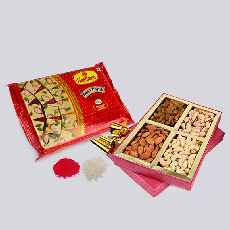 Bhai Dooj Gift Combo of Assorted Dry Fruits with Soan Papdi