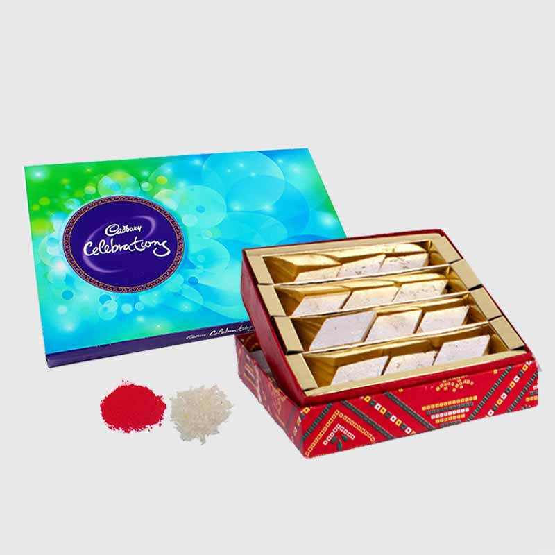 Kaju Katli Sweets with Cadbury Celebration Chocolate Pack for Bhai