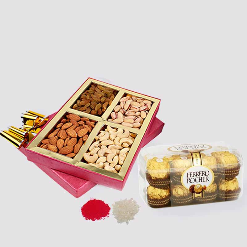 16 pcs of Ferrero Rocher Chocolate with Assorted Dry Fruits in a Box for Bhai Dooj