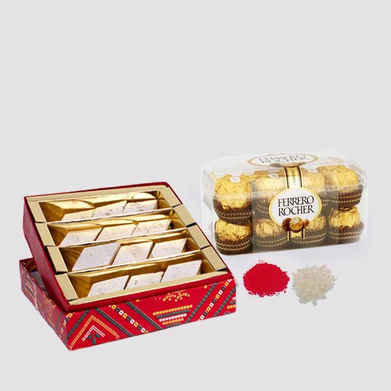 Kaju Katli Sweets with Ferrero Rocher Chocolate for Bhaidooj