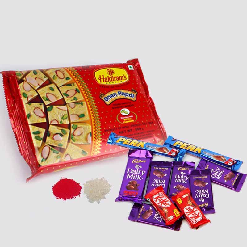Soan Papdi with Assorted Indian Chocolates for Bhaidooj