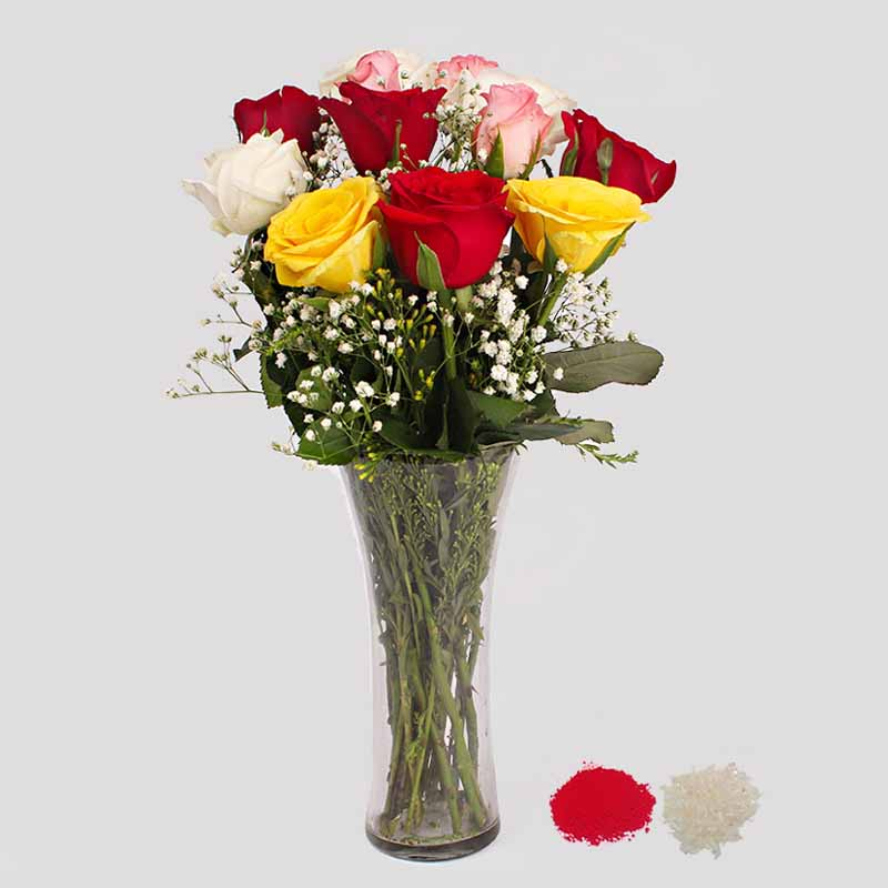 Bhaidooj Special Multi Color Roses in a Glass Vase