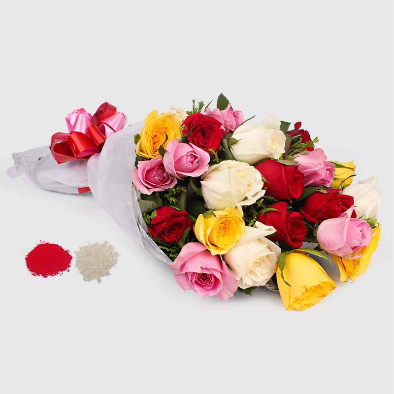 20 Mix Roses Bouquet for Bhaidooj Gift