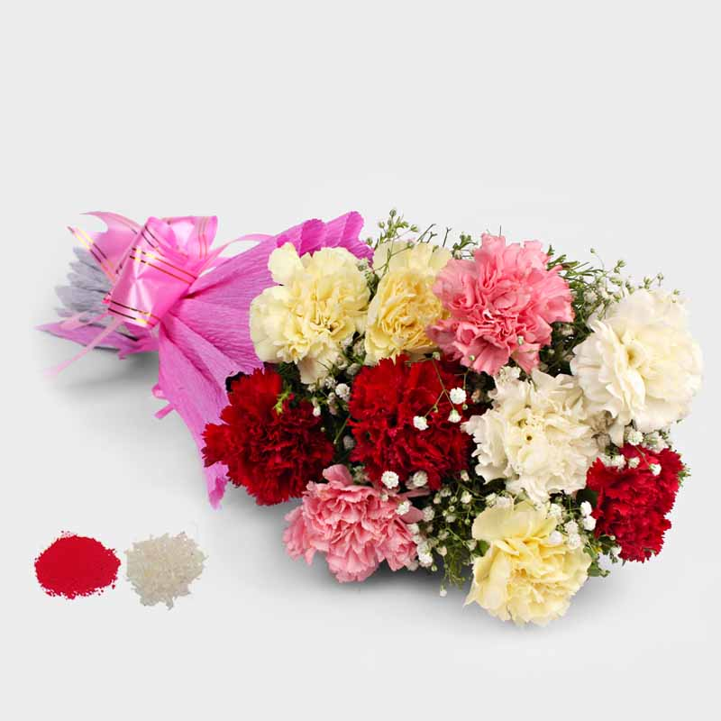 Bhai Dooj Gift of 10 Mix Carnation Bouquet