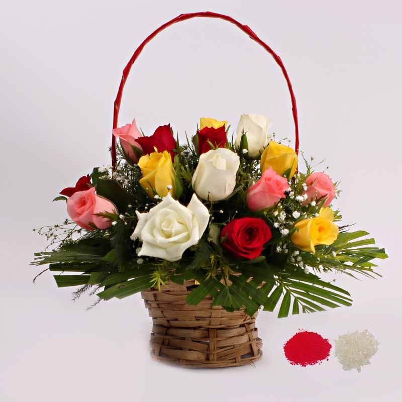 Bhai Dooj for Mix Roses in a Basket Arrangement