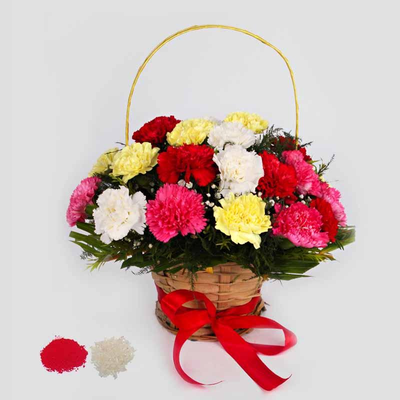 Mix Carnations in a Basket Arrangement for Bhai Dooj
