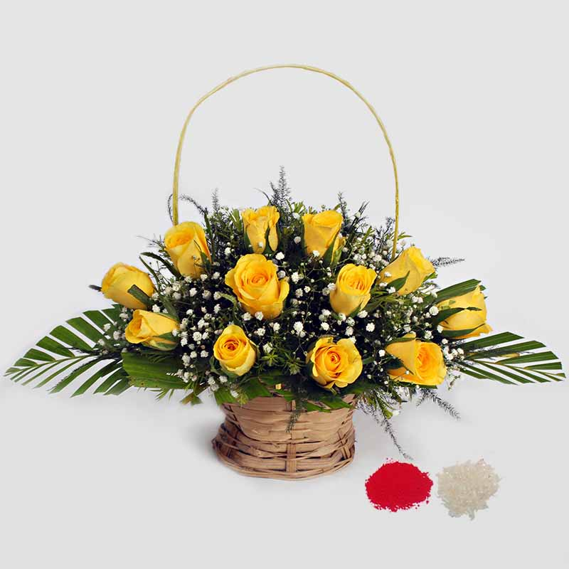 12 Yellow Roses Basket Arrangement for Bhaidooj