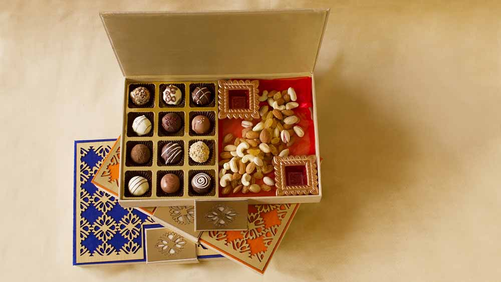 Chocolate & Cookies-Dark Belgian pralines and Dry Fruits Designer Joy