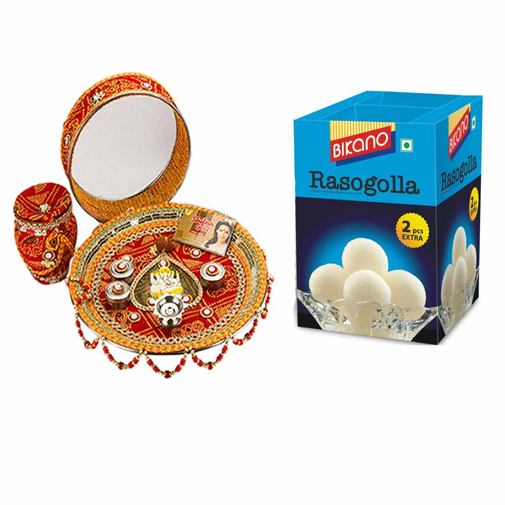 Other Diwali Gifts-Karva Chauth Thali with Bikano Rasgulla