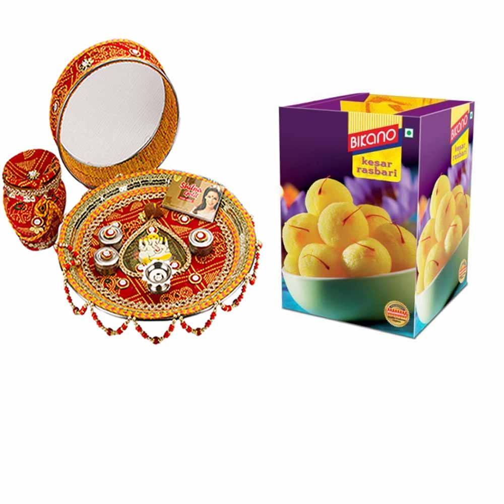Other Diwali Gifts-Karva Chauth Thali with Bikano Rajbhog