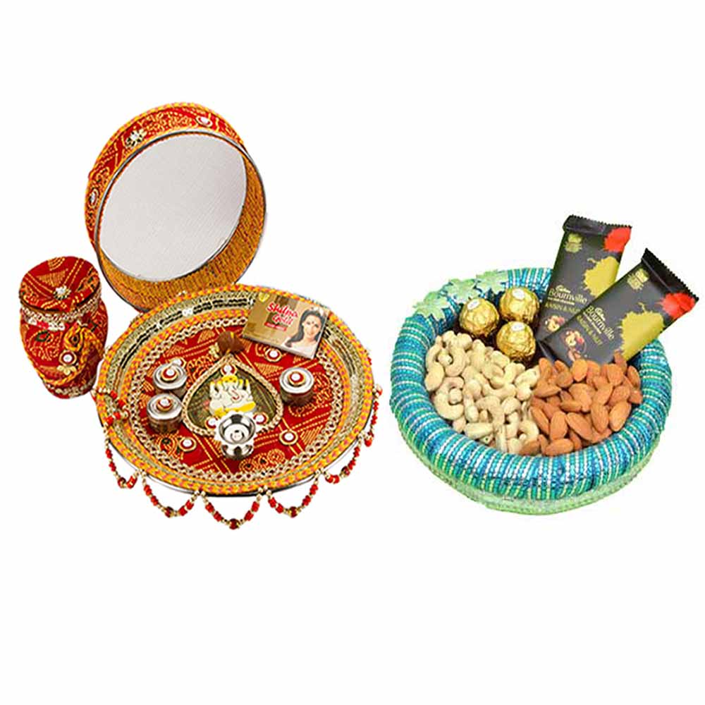 Karva Chauth Thali with Crunchy dry fruits n Chocolates