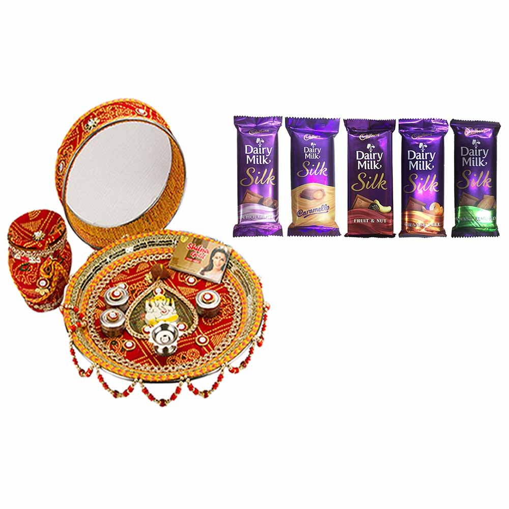 Other Diwali Gifts-Karva Chauth Thali with Chocolates